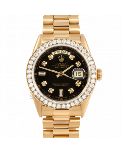 Rolex Day-Date 36 18038 Yellow Gold President, Custom Black Diamond Dial, 2ct Diamond Bezel On Presidential Bracelet, Men's Pre-Owned Watch