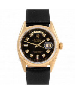 Rolex Day-Date 36 18038 Yellow Gold President, Custom Black Diamond Dial, Fluted Bezel On Black Leather Strap, Men's Pre-Owned Watch
