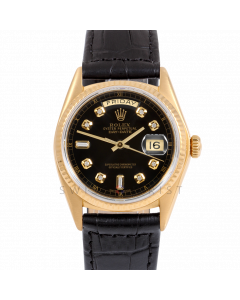 Rolex Day-Date 36 18038 Yellow Gold President, Custom Black Diamond Dial, Fluted Bezel On Black Alligator Leather Strap, Men's Pre-Owned Watch