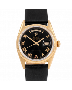Rolex Day-Date 36 18038 Yellow Gold President, Black Roman Dial, Fluted Bezel On Black Leather Strap, Men's Pre-Owned Watch