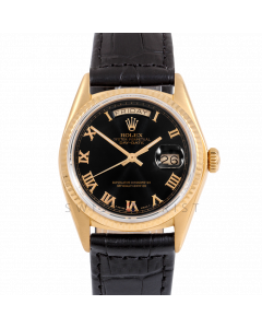 Rolex Day-Date 36 18038 Yellow Gold President, Black Roman Dial, Fluted Bezel On Black Alligator Leather Strap, Men's Pre-Owned Watch