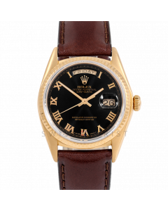Rolex Day-Date 36 18038 Yellow Gold President, Black Roman Dial, Fluted Bezel On Brown Leather Strap, Men's Pre-Owned Watch