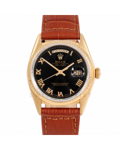 Rolex Day-Date 36 18038 Yellow Gold President, Black Roman Dial, Fluted Bezel On Brown Alligator Leather Strap, Men's Pre-Owned Watch