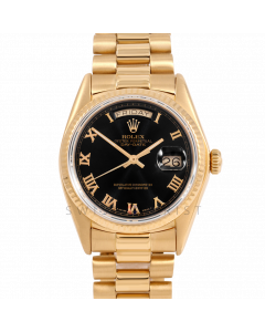 Rolex Day-Date 36 18038 Yellow Gold President, Black Roman Dial, Fluted Bezel On Presidential Bracelet, Men's Pre-Owned Watch