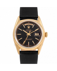 Rolex Day-Date 36 18038 Yellow Gold President, Black Stick Dial, Fluted Bezel On Black Leather Strap, Men's Pre-Owned Watch