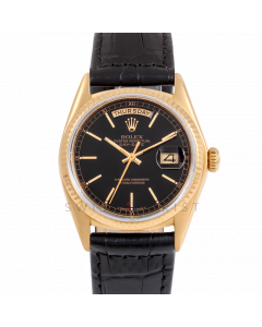 Rolex Day-Date 36 18038 Yellow Gold President, Black Stick Dial, Fluted Bezel On Black Alligator Leather Strap, Men's Pre-Owned Watch