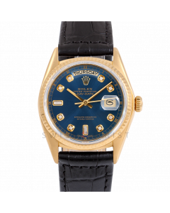 Rolex Day-Date 36 18038 Yellow Gold President, Custom Blue Diamond Dial, Fluted Bezel On Black Alligator Leather Strap, Men's Pre-Owned Watch