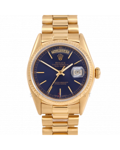 Rolex Day-Date 36 18038 Yellow Gold President, Blue Stick Dial, Fluted Bezel On Presidential Bracelet, Men's Pre-Owned Watch