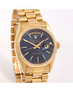 Rolex Day Date 36 mm 18038 18K Yellow Gold, Blue Stick Dial w/ Fluted Bezel on a President Bracelet - Pre-Owned Men's Watch