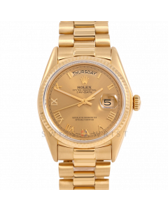 Rolex Day-Date 36 18038 Yellow Gold President, Champagne Roman Dial, Fluted Bezel On Presidential Bracelet, Men's Pre-Owned Watch