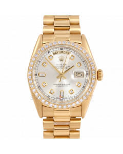 Rolex Day-Date 36 18038 Yellow Gold President, Custom Silver Diamond Dial, 1ct Diamond Bezel On Presidential Bracelet, Men's Pre-Owned Watch