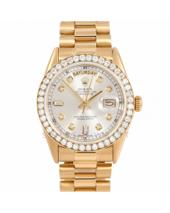 Rolex Day-Date 36 18038 Yellow Gold President, Custom Silver Diamond Dial, 2ct Diamond Bezel On Presidential Bracelet, Men's Pre-Owned Watch