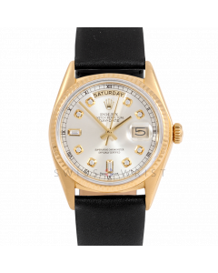 Rolex Day-Date 36 18038 Yellow Gold President, Custom Silver Diamond Dial, Fluted Bezel On Black Leather Strap, Men's Pre-Owned Watch