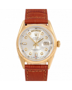 Rolex Day-Date 36 18038 18K Yellow Gold President, Custom Silver Diamond Dial, Fluted Bezel on Brown Alligator Leather Strap - Men's Pre-Owned Watch