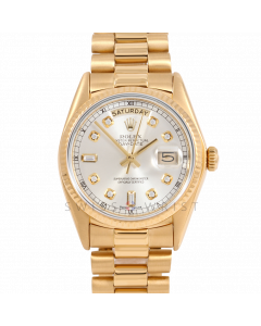 Rolex Day-Date 36 18038 18K Yellow Gold President, Custom Silver Diamond Dial, Fluted Bezel on Presidential Bracelet - Men's Pre-Owned Watch