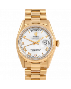Rolex Day-Date 36 18038 Yellow Gold President, White Roman Dial, Fluted Bezel On Presidential Bracelet, Men's Pre-Owned Watch