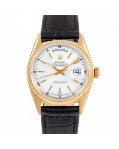 Rolex Day-Date 36 18038 Yellow Gold President, White Stick Dial, Fluted Bezel On Black Alligator Leather Strap, Men's Pre-Owned Watch