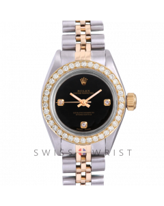 Rolex Oyster Perpetual Yellow Gold & Steel, Custom Black 3 Diamond Dial, Diamond Bezel On A Jubilee Bracelet - Women's Pre-Owned Watch