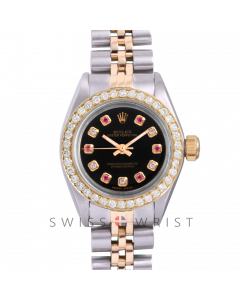 Rolex Oyster Perpetual Yellow Gold & Steel, Custom Black Alternating Ruby and Diamond Dial, Diamond Bezel On A Jubilee Bracelet - Women's Pre-Owned Watch