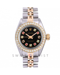 Rolex Oyster Perpetual Yellow Gold & Steel, Custom Black Rainbow Dial, Diamond Bezel On A Jubilee Bracelet - Women's Pre-Owned Watch