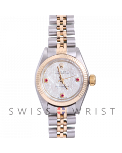 Rolex Oyster Perpetual Yellow Gold & Steel, Custom Mother Of Pearl Dial With Rubies At 3,6,9 O'clock, Fluted Bezel On A Jubilee Bracelet - Women's Pre-Owned Watch