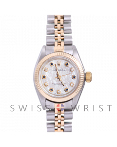 Rolex Oyster Perpetual Yellow Gold & Steel, Custom Mother Of Pearl Dial With Diamond And Sapphires, Fluted Bezel On A Jubilee Bracelet - Women's Pre-Owned Watch
