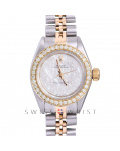 Rolex Oyster Perpetual Yellow Gold & Steel, Custom Mother of Pearl Dial, Diamond Bezel On A Jubilee Bracelet - Women's Pre-Owned Watch