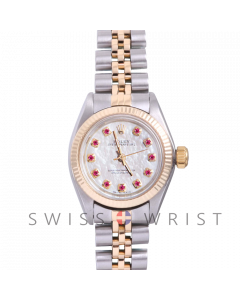 Rolex Oyster Perpetual Yellow Gold & Steel, Custom Mother Of Pearl Ruby Dial, Fluted Bezel On A Jubilee Bracelet - Women's Pre-Owned Watch