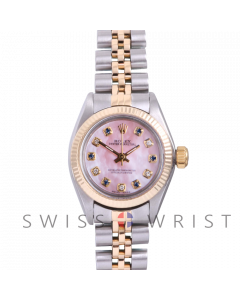 Rolex Oyster Perpetual Yellow Gold & Steel, Custom Pink Mother Of Pearl Dial With Diamond And Sapphires, Fluted Bezel On A Jubilee Bracelet - Women's Pre-Owned Watch