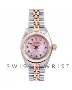 Rolex Oyster Perpetual Yellow Gold & Steel, Custom Pink Mother Of Pearl Rainbow Dial Fluted Bezel On A Jubilee Bracelet - Women's Pre-Owned Watch