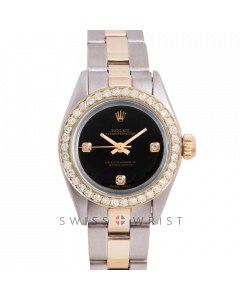 Rolex Oyster Perpetual Yellow Gold & Steel, Custom Black 3 Diamond Dial, Diamond Bezel On An Oyster Bracelet - Women's Pre-Owned Watch
