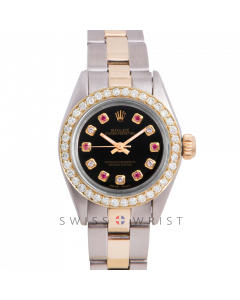 Rolex Oyster Perpetual Yellow Gold & Steel, Custom Black Alternating Ruby and Diamond Dial, Diamond Bezel On An Oyster Bracelet - Women's Pre-Owned Watch