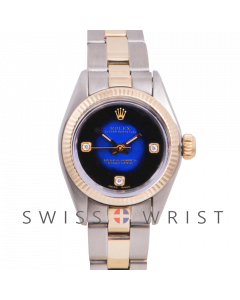 Rolex Oyster Perpetual Yellow Gold & Steel, Custom Blue Vignette Dial with Diamonds at the 3,6 and 9 O'clock, Fluted Bezel On A Jubilee Bracelet - Women's Pre-Owned Watch