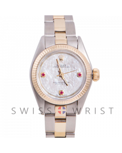 Rolex Oyster Perpetual Yellow Gold & Steel, Custom Mother Of Pearl Dial With Ruby At 3,6,9 O'clock, Fluted Bezel On A Oyster Bracelet - Women's Pre-Owned Watch