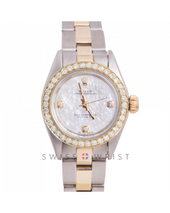 Rolex Oyster Perpetual Yellow Gold & Steel, Custom Mother of Pearl 3,6,9 Diamond Dial, Diamond Bezel On An Oyster Bracelet - Women's Pre-Owned Watch