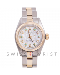 Rolex Oyster Perpetual Yellow Gold & Steel, Custom Mother Of Pearl Dial With Diamonds And Emeralds, Fluted Bezel On A Oyster Bracelet - Women's Pre-Owned Watch