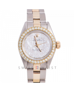Rolex Oyster Perpetual Yellow Gold & Steel, Custom Mother of Pearl Dial, Diamond Bezel On An Oyster Bracelet - Women's Pre-Owned Watch