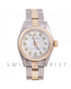 Rolex Oyster Perpetual Yellow Gold & Steel, Custom Mother of Pearl Emerald Dial, Fluted Bezel On An Oyster Bracelet - Women's Pre-Owned Watch