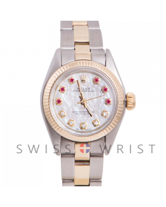 Rolex Oyster Perpetual Yellow Gold & Steel, Custom Mother of Pearl Ruby and Diamond Dial, Fluted Bezel On An Oyster Bracelet - Women's Pre-Owned Watch