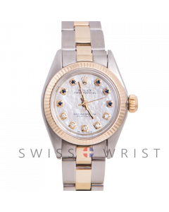 Rolex Oyster Perpetual Yellow Gold & Steel, Custom Mother of Pearl Sapphire and Diamond Dial, Fluted Bezel On An Oyster Bracelet - Women's Pre-Owned Watch