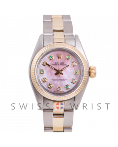 Rolex Oyster Perpetual Yellow Gold & Steel, Custom Pink Mother Of Pearl Dial With Diamond And Emeralds, Fluted Bezel On A Oyster Bracelet - Women's Pre-Owned Watch