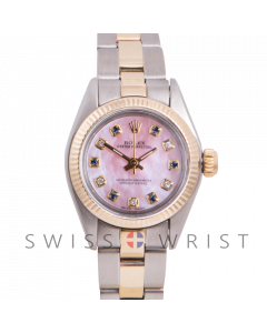 Rolex Oyster Perpetual Yellow Gold & Steel, Custom Pink Mother Of Pearl Dial With Diamond And Sapphires, Fluted Bezel On A Oyster Bracelet - Women's Pre-Owned Watch