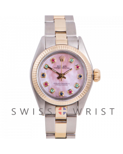 Rolex Oyster Perpetual Yellow Gold & Steel, Custom Pink Mother Of Pearl Dial Rainbow, Fluted Bezel On A Oyster Bracelet - Women's Pre-Owned Watch
