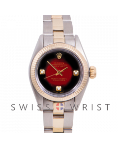 Rolex Oyster Perpetual Yellow Gold & Steel, Custom Red Vignette diamonds at 3,6,9, Fluted Bezel On Oyster Bracelet - Women's Pre-Owned Watch