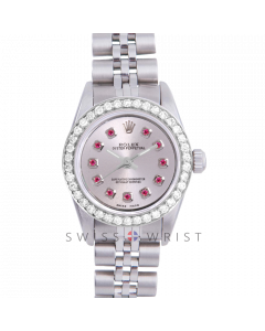 Rolex Oyster Perpetual No Date - Custom Silver Ruby Dial - Stainless Steel - Diamond Bezel On a Jubilee Band - Pre-Owned