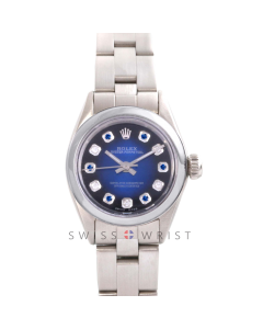 Rolex Oyster Perpetual No Date - Custom Blue Vignette Sapphire & Diamond Dial - Stainless Steel - Smooth Bezel On an Oyster Band - Pre-Owned