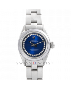 Rolex Oyster Perpetual No Date - Custom Blue Outer String Diamond Dial - Stainless Steel - Smooth Bezel On an Oyster Band - Pre-Owned