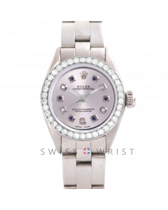 Rolex Oyster Perpetual No Date - Custom Silver Alternating Sapphire and Diamond Dial - Stainless Steel - Diamond Bezel On an Oyster Band - Pre-Owned