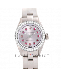 Rolex Oyster Perpetual No Date - Custom Silver Ruby Dial - Stainless Steel - Diamond Bezel On an Oyster Band - Pre-Owned