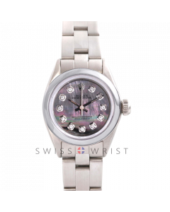 Rolex Oyster Perpetual No Date - Custom Tahitian Diamond Dial - Stainless Steel - Smooth Bezel On an Oyster Band - Pre-Owned